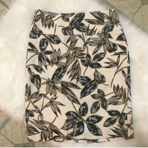 j.crew • petite gold foil leaf pencil skirt • 4P